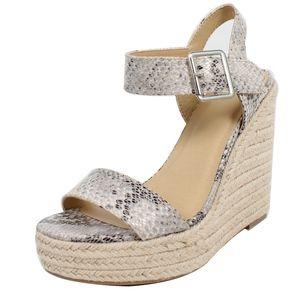 Shoes - Size 10 Beige Python Open Toe Ankle Strap Espadril